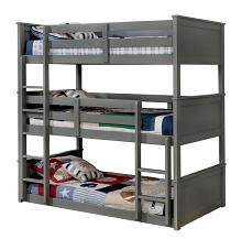 Furniture of america CM-BK628GY-T Therese collection triple twin bed twin over twin over twin gray finish wood bunk bed