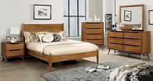 CM7386A-5pc 5 pc lenhart mid century modern oak finish wood queen bedroom set