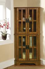 Mission style warm brown finish wood corner curio glass front cabinet with shelves and flat top