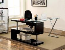 CM-DK6131BK Bronwen black finish wood and glass top l shaped convertible desk