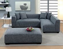 CM6120-OT 3 pc jaylene gray linen fabric sectional sofa set