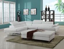 2 pc Nova II white leather gel upholstered sectional sofa with adjustable headrests and arm with chrome legs