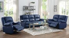 Acme 54615-16 2 pc Red barrel studio swinford zuriel blue faux leather sofa and love seat set with recliner ends